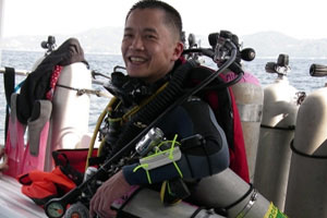 eric tran tech diving student in phuket